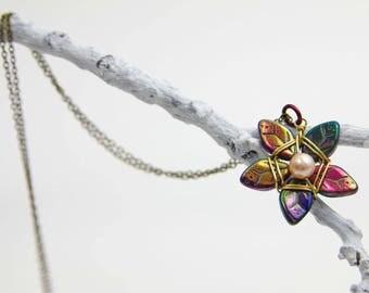 Autumn Purples Flower Star necklace