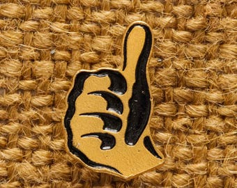 Thumbs Up Button Vintage Gold Pin-Back Lapel Pin Vtg Pin 7S