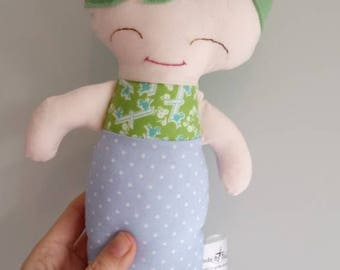 Soft Merman Doll. Cute baby boy gift, CE marked fabric plush toy. For Baby shower or toddlers birthday, this mermaid is ready to ship.