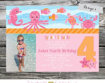 Under the Sea Birthday Invite, Under the Sea Invitation, Turtle, Photo Invite, Printed Under the Sea Invites, Crab Ocean Animals, Sea Animal