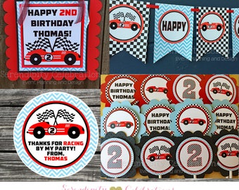 Race Car Party Package -Party Bundle -Race Car Birthday Party -Banner Party Sign, Favor Tags Cupcake Topper, Baby Shower, Speed Racer, Car