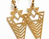 Sacred Triangle Earrings (GOLD), Panther-Inspired Earrings, Super Hero Earrings, Art Deco Drop Earrings, African Queen Earrings