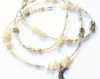 Moonstone Waist Beads, Crescent Moon Waist Beads, Moon Belly Beads, White Moon Belly Chain, Spiritual Waist Beads