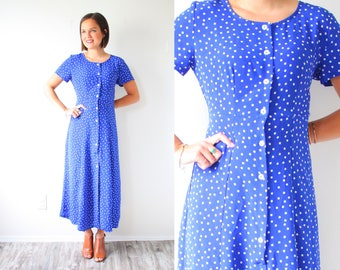 Vintage bright blue polka dot dress // 80's polka dot blue dress // boho dress // polka dot dress // modest short sleeve fall boho dress