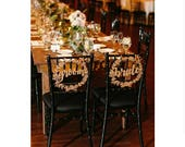 Gold Bride and Groom Wreath Chair Signs Wedding Chair Signs