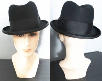 Vintage Royal Stetson Fedora Hat | Royal Stetson Hat | Fedora Hat | Gangster Hat | Black Fedora Hat |  1950s Royal Stetson Hat