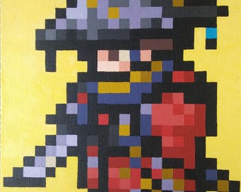 "FFXIV Samurai 8 bit Pixel Painting 9""x12"""