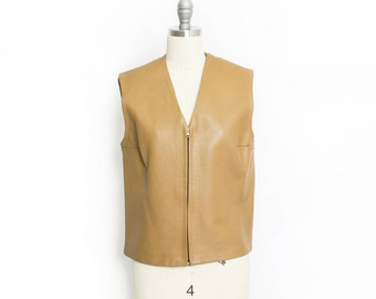Vintage 1960s Vest - Leather Light Brown Cropped Mod Sportswear  - Small