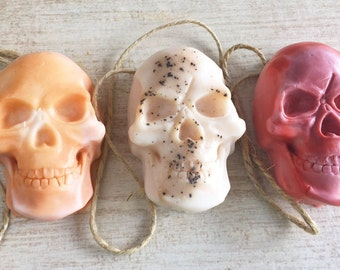 Three Skull Soap Set - Soap on a Rope - Soap Gift Set - Halloween Party Favor - Stocking Stuffer - Skull - Halloween Decor - FREE SHIPPING