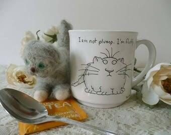 "Retro Vintage Boynton Cat ""I Am Not Plump. I'm Fluffy.""  Coffee Mug 1980's"