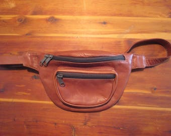 Vintage Brown Leather Fanny Pack Colombia Leather Bum Bag