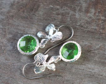 Hypoallergenic Silver Orchid Earrings with Light Green Crystal Drops on Titanium Earring Wires