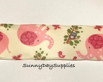 Pink Elephant Ribbon, Birds, Gray Owl, 2 YARDS, 1.5 inches wide, Soft Sati style ribbon, Wired, Pink Elephant, Jungle Animals, Made in USA