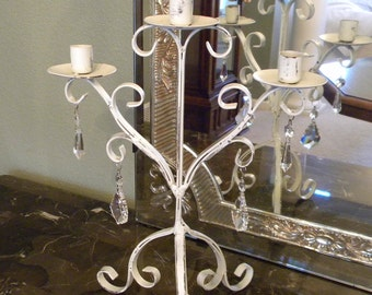 Candelabra with Crystal Glass Chandelier Prisms | Off White Shabby Metal Candle Holder | Wedding Unity Candle 3 Arm Candelabra One of A Kind