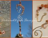 Horse Suncatcher, TANGERINE horse lover gift, crystal suncatcher, wire horse, window decoration,
