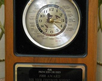 1988 Lord King Quartz World Wall Clock Princess Cruises Clock Award Solid Wood Keeps Perfect Time!
