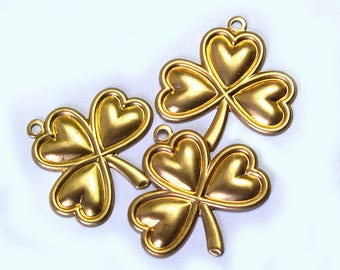 6 Old New Stock Irish Brass Clover Charms, brass clovers, Irish clover charms, Irish clovers, jewelry charms, jewelry supplies, lizones etsy