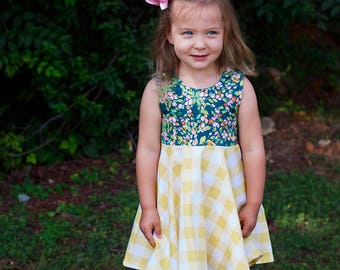 Floral and Yellow Dress   Scoop Neck Dress   NB - 12   Bubble Romper Available   Sister Set   Summer Dress   Flowy Girls Dress