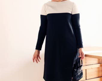 Woman ponte Milano dress, woman elegant dresses, long sleeve, formal dress, ponte knit, Mother's day, made in Italy, sustainable clothing
