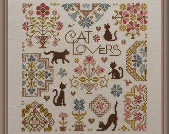 FREE gift w/pre-order JARDIN PRIVÉ Cat Lovers counted cross stitch patterns at thecottageneedle.com feline meow pet fur babies
