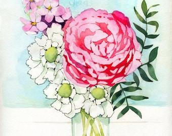 Flowers in Mason Jar Painting -  Watercolor Print