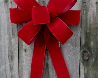 Christmas Bow, Deep Red Brick Christmas Wreath Bow, Door Window, Dark Red Indoor/ Outdoor, Brick Red Wired Velvet - Finish Bow