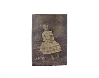 Vintage Tintype Photo of Child / Civil War Era Tintype Photograph