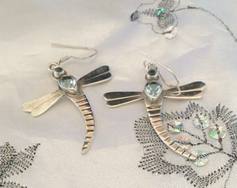 Authentic Vintage BLUE TOPAZ DRAGON Fly Sterling Silver 925 Drop Earrings, Birthday, Prom Sweet Sixteen, Free Postage.