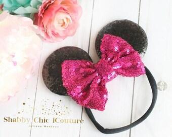 Mini Mouse Headband, Disney Headband, Hot Pink, Hot Pink Minnie Mouse, Pink and Black, Pink Minnie Mouse Ears, Sequins Bow, Disney, Sequins