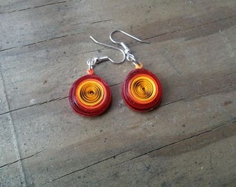 Fire Circle Quilled Earrings
