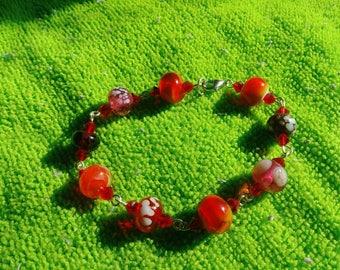 Fire Red Lampwork Bracelet