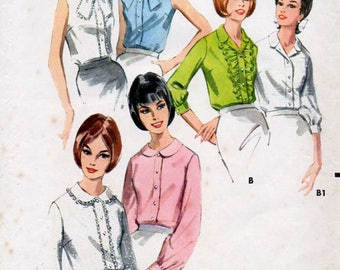 1960s Blouse in Six Versions Pattern Butterick 3654 Vintage Sewing Pattern Retro Office Wear Ruffle Front Lace Trim Tie Collar Shirt Bust 32