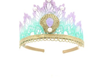 NEW Mermaid lace TIARA || lavender mint ombre GOLD glitter shell || headband options || Sienna
