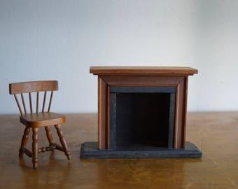 Vintage Wood Shackman Dollhouse Fireplace & Chair - Miniatures, Faery House, Dollhouse Furniture