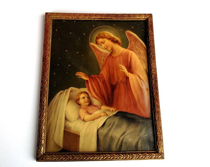 Vintage 1940's Framed Guardian Angel Print
