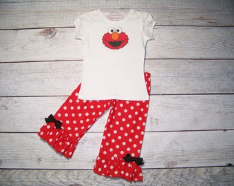 Elmo Ruffle Outfit / Onesie or Shirt + Pants / Red & White / 123 Sesame Street / Birthday/ Newborn / Infant / Baby / Girl/ Toddler/ Boutique