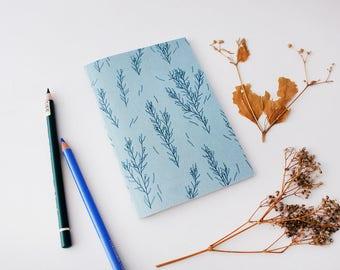 Travel Journal, Bullet Journal, Sketchbook, A6 Notebook, Journal, Plain Journal, Pocket Sketchbook, Travelers Notebook, Blue Floral Pattern