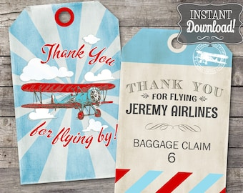 Vintage Airplane Thank You Tags - INSTANT DOWNLOAD - Editable & Printable Birthday Decoration, Thankyou, Gift Favor Tag by Sassaby Parties
