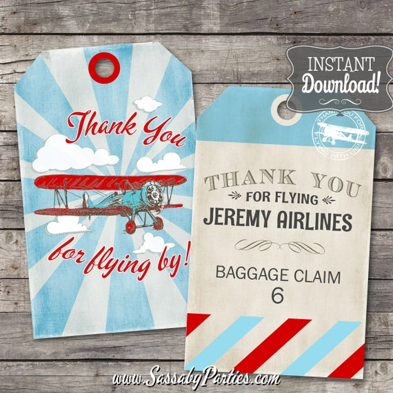Airplane Birthday Party Favor Tags: Vintage Airplane Thank You Tags