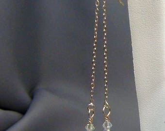 """Crystal Earrings - Swarovski Violet Opal Cubes, 14k Gold Filled Chain Ear Thread  - 3"""" - Hand Crafted Artisan Jewelry"""