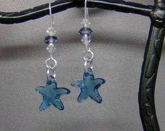 """Indicolite Blue Starfish Earrings - Swarovski Crystal Starfish, Sterling Silver Earwires - 2"""" - Hand Crafted Artisan Jewelry"""