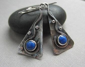 SALE 20% OFF/ Lapis Earrings/ Sterling Silver Earrings with Lapis/ Metalsmith earrings/ Lapis bezel Earrings/  Tribal Earrings