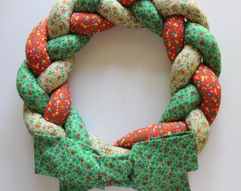 Vintage Braided Floral Fabric Wreath 1970s