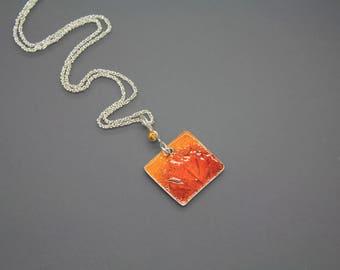 Enamel Necklace, Enamel Pendant, Orange Necklace, Leaf Jewelry, Leaf Necklace, Orange Jewelry, Leaf Pendant, Fall Leaves, Glass Jewelry, RTS