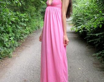 SUMMER SALE! petals - beautiful hot pink bohemian chic hippie floral supima cotton lace maxi dress xs