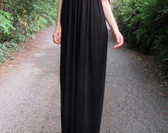 SUMMER SALE! bellissima - bamboo off-shoulder Soft black bohemian chic hippie festival beach woodland bridesmaid wedding maxi dress xs small