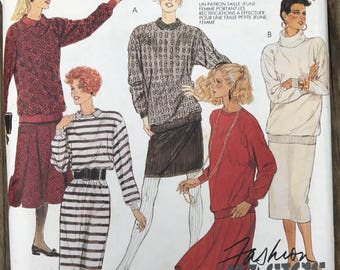 Vintage 80s McCall's 3253 Knit Dress Too and Skirt Vintage Pattern / 80s Sewing Pattern Size Medium 14-16 UNCUT