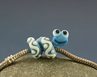 Bookworm  glass charm bead Snake lampwork big hole bead BHB bead , charm bracelet ,european bracelet , jewelry dread bead
