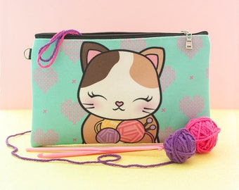 Knittin' Kitten Clutch - Cat Makeup Bag Cat Pouch Kitty Pencil Bag Kitty Kawaii Pouch Cat Clutch Cat Knitting Yarn Bag Cat Lover Gift