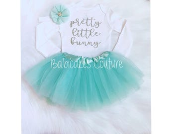 Newborn Baby Bunny Outfit, Bunny Bodysuit & Mint Tutu, Babys 1st Easter, Bunny Layette, Easter Photo Outfit, Mint Easter Bunny Tutu Outfit
